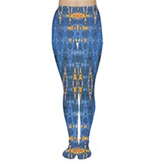 Blue And Gold Repeat Pattern Women s Tights
