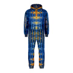 Blue And Gold Repeat Pattern Hooded Jumpsuit (Kids)