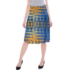 Blue And Gold Repeat Pattern Midi Beach Skirt