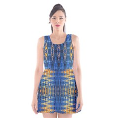 Blue And Gold Repeat Pattern Scoop Neck Skater Dress