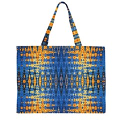 Blue And Gold Repeat Pattern Large Tote Bag