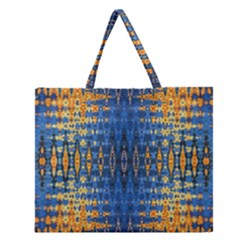 Blue And Gold Repeat Pattern Zipper Large Tote Bag