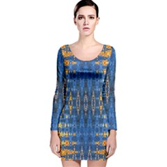 Blue And Gold Repeat Pattern Long Sleeve Velvet Bodycon Dress
