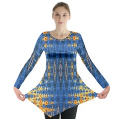 Blue And Gold Repeat Pattern Long Sleeve Tunic
