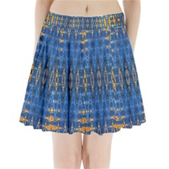 Blue And Gold Repeat Pattern Pleated Mini Skirt