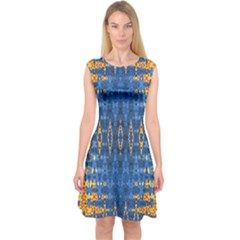 Blue And Gold Repeat Pattern Capsleeve Midi Dress