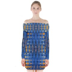 Blue And Gold Repeat Pattern Long Sleeve Off Shoulder Dress