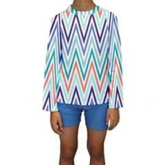 Chevrons Colourful Background Kids  Long Sleeve Swimwear