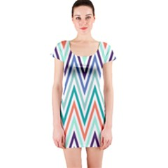 Chevrons Colourful Background Short Sleeve Bodycon Dress