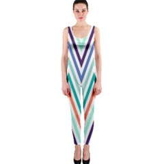 Chevrons Colourful Background OnePiece Catsuit