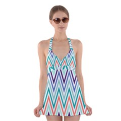 Chevrons Colourful Background Halter Swimsuit Dress