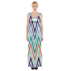 Chevrons Colourful Background Maxi Thigh Split Dress
