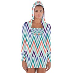 Chevrons Colourful Background Women s Long Sleeve Hooded T-shirt