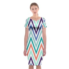 Chevrons Colourful Background Classic Short Sleeve Midi Dress