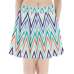 Chevrons Colourful Background Pleated Mini Skirt