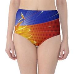 Christmas Abstract High-Waist Bikini Bottoms