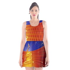 Christmas Abstract Scoop Neck Skater Dress