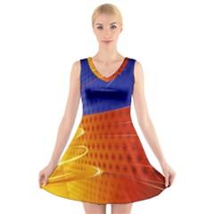 Christmas Abstract V-Neck Sleeveless Skater Dress