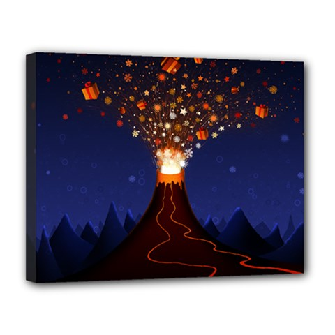 Christmas Volcano Canvas 14  x 11