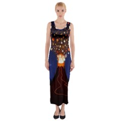 Christmas Volcano Fitted Maxi Dress