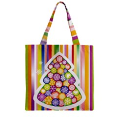 Christmas Tree Colorful Zipper Grocery Tote Bag