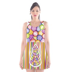 Christmas Tree Colorful Scoop Neck Skater Dress