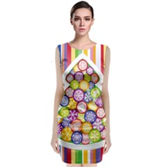 Christmas Tree Colorful Classic Sleeveless Midi Dress