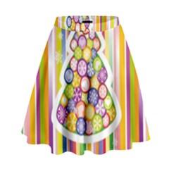 Christmas Tree Colorful High Waist Skirt