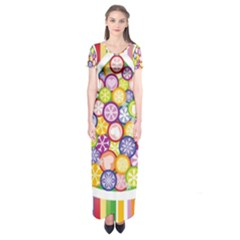Christmas Tree Colorful Short Sleeve Maxi Dress