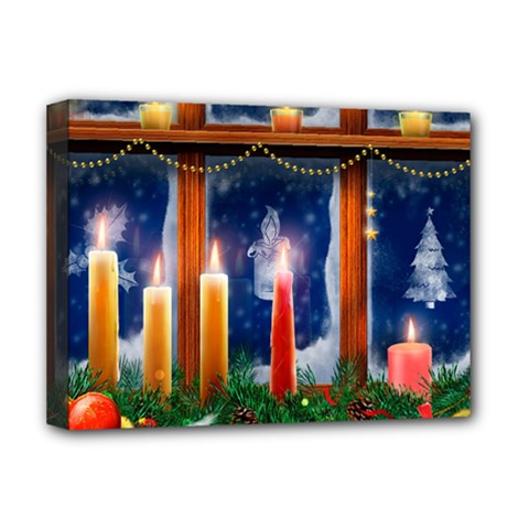 Christmas Lighting Candles Deluxe Canvas 16  x 12
