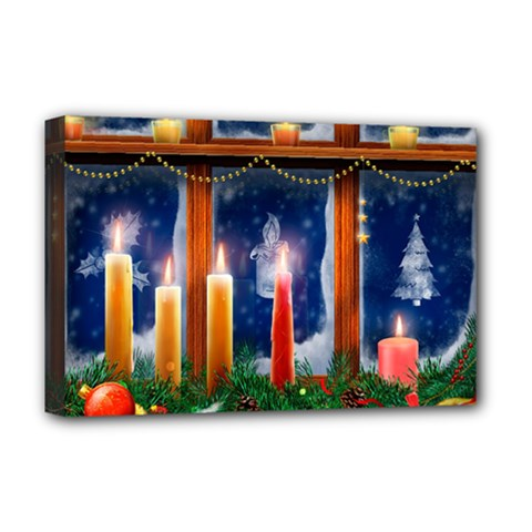 Christmas Lighting Candles Deluxe Canvas 18  x 12