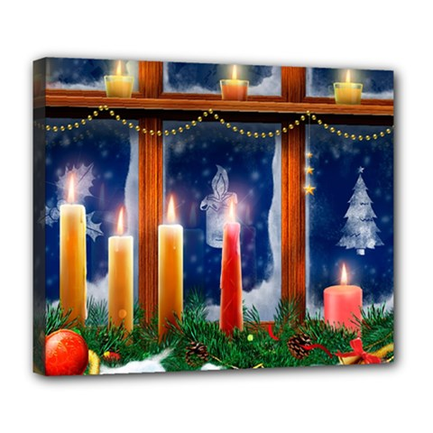 Christmas Lighting Candles Deluxe Canvas 24  x 20