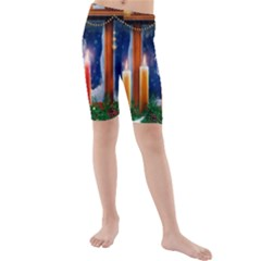 Christmas Lighting Candles Kids  Mid Length Swim Shorts