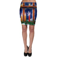 Christmas Lighting Candles Bodycon Skirt