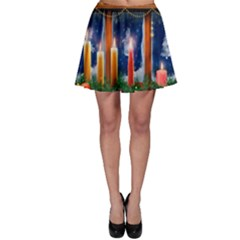 Christmas Lighting Candles Skater Skirt