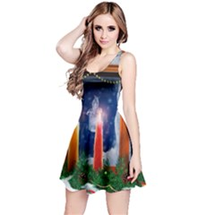 Christmas Lighting Candles Reversible Sleeveless Dress