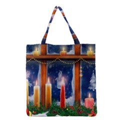 Christmas Lighting Candles Grocery Tote Bag