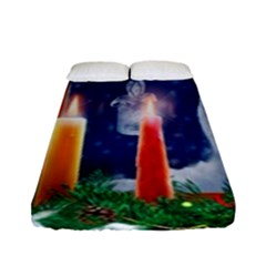 Christmas Lighting Candles Fitted Sheet (Full/ Double Size)