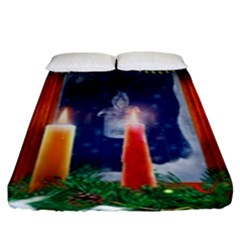 Christmas Lighting Candles Fitted Sheet (King Size)