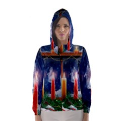 Christmas Lighting Candles Hooded Wind Breaker (Women)