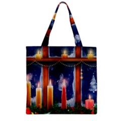 Christmas Lighting Candles Zipper Grocery Tote Bag