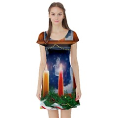 Christmas Lighting Candles Short Sleeve Skater Dress