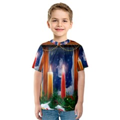 Christmas Lighting Candles Kids  Sport Mesh Tee