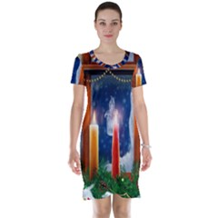 Christmas Lighting Candles Short Sleeve Nightdress