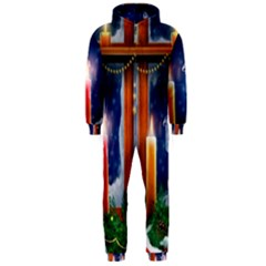 Christmas Lighting Candles Hooded Jumpsuit (Men)