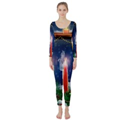 Christmas Lighting Candles Long Sleeve Catsuit