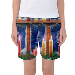 Christmas Lighting Candles Women s Basketball Shorts