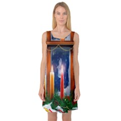 Christmas Lighting Candles Sleeveless Satin Nightdress