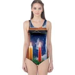 Christmas Lighting Candles One Piece Swimsuit