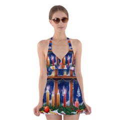 Christmas Lighting Candles Halter Swimsuit Dress